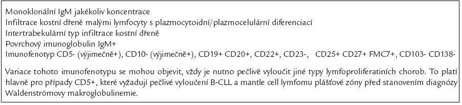 Diagnostická kritéria Waldenströmovy makroglobulinemie [54].