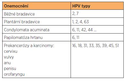 Přehled onemocnění způsobených HPV