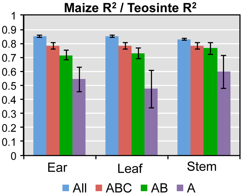 Ratio of the average maize to teosinte R<sup>2</sup> values for individual genes from models explaining hybrid expression by maize and teosinte parent.