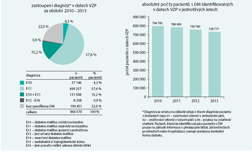 Sumarizace pacientů s diabetes mellitus v datech VZP v období 2010–2013