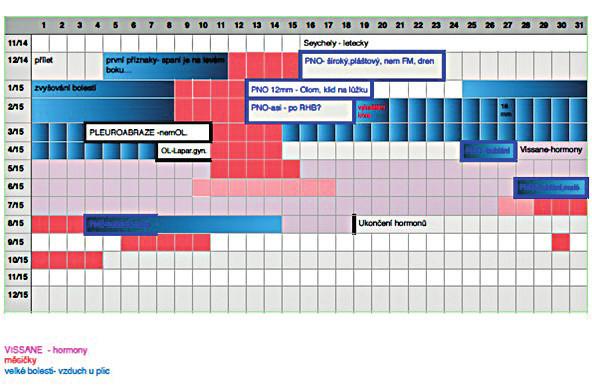 Vazba obtíží spojených s PNO na menstruační cyklus (menstruační kalendář pacientky se záznamy obtíží)