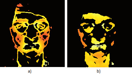 Fig. 2: Facial clusters a) A cluster with high average value of the local entropy. b) A cluster with a low average value of the local entropy.