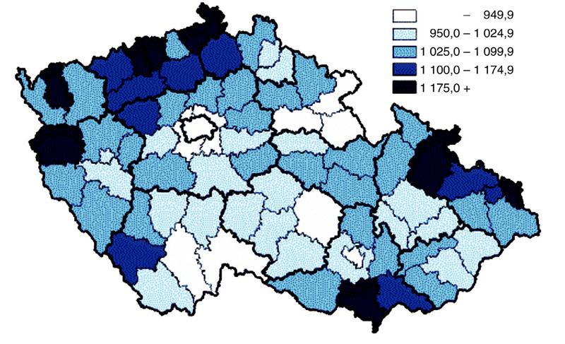 Standardizovaná úmrtnost mužů v České republice v roce 2007 (27)