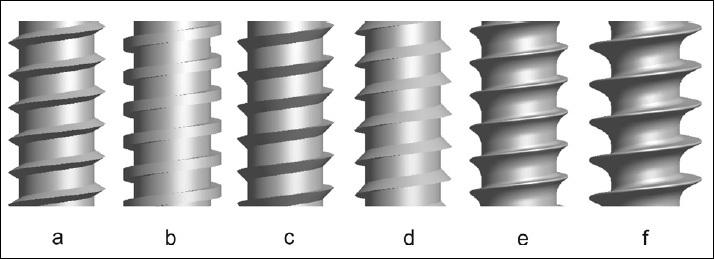 Základní tvary závitů; a) metrický, b) plochý, c) pilovitý, d) obrácený pilovitý, e) ISO Shallow HA kortikální a f) ISO Deep HB spongiózní