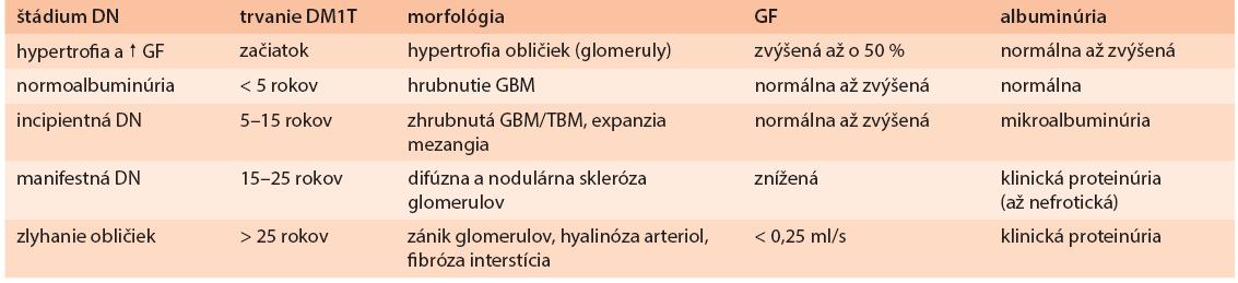 Vývoj DN pri diabete 1. typu