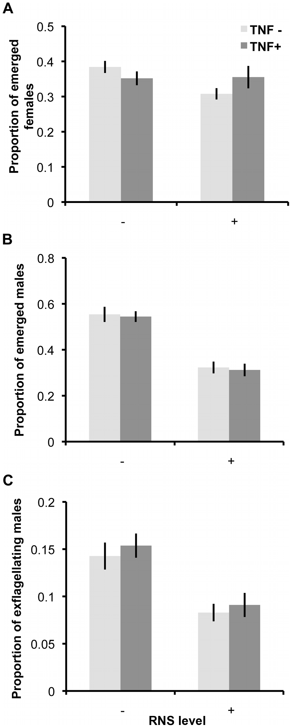 Ability of gametocytes to undergo gametogenesis after exposure to RNS and TNF-α.