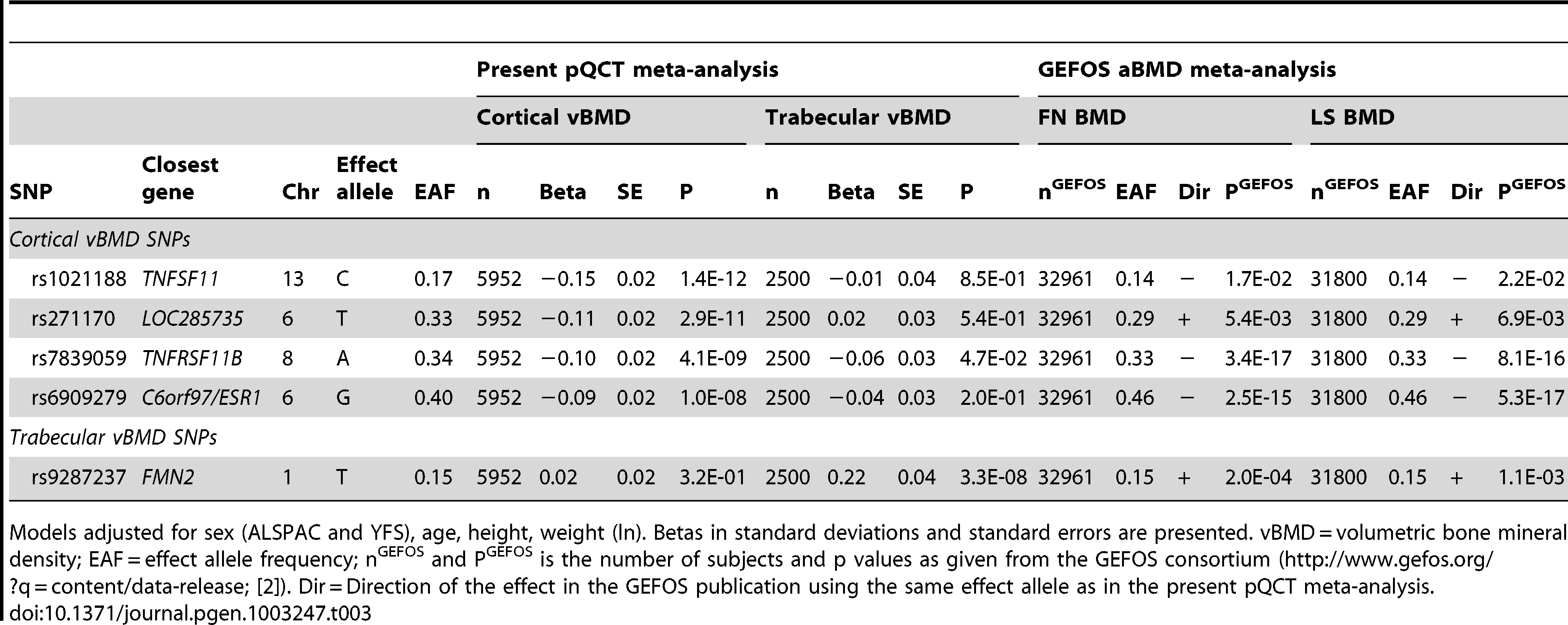 Association of cortical and trabecular vBMD with top cortical and trabecular vBMD SNPs.