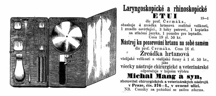 Inzerát v Časopise lékařů českých z roku 1862, nabízející nástroje pro laryngoskopii, vyrobené podle návrhu profesora Čermáka