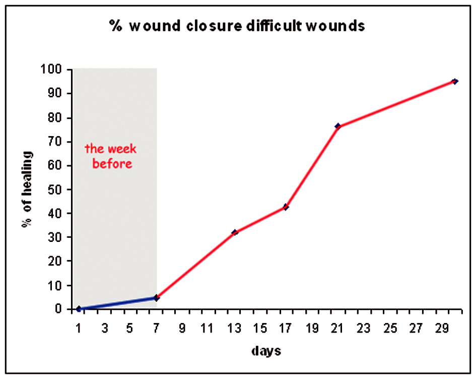 Graph 1. Group 2: The difference between the percentage of wound healing the week before starting the application of the gel and a week after application was statistically significant (P<0.05)