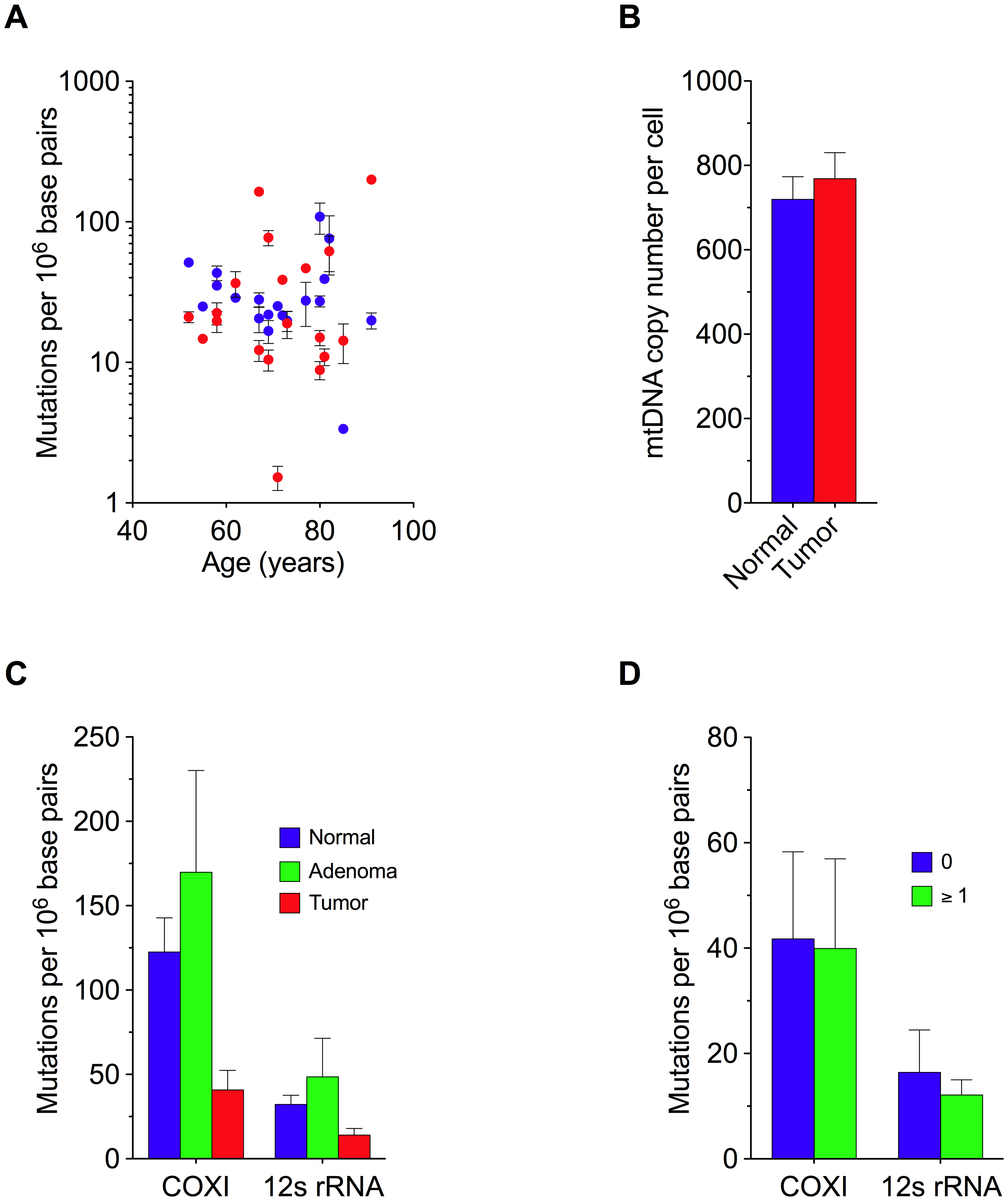 Random Mitochondrial DNA Mutations and Genome Copy Number in Colorectal Tissue.