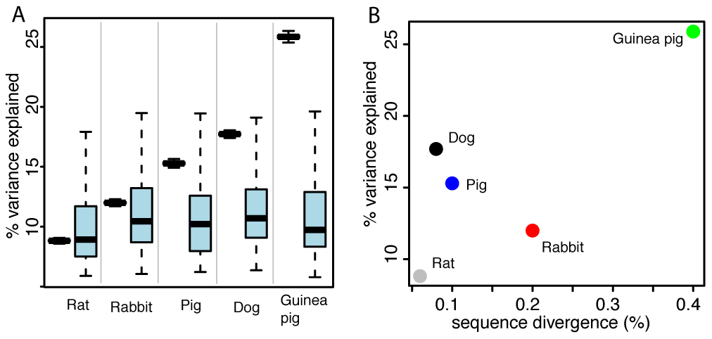 Expression differences between domesticated and wild animals.