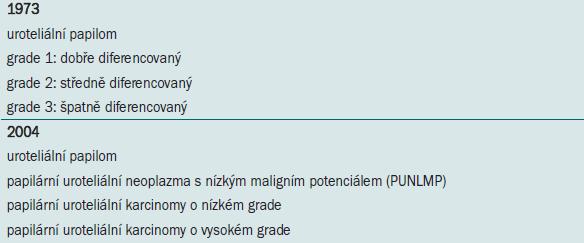 TNM klasifikace karcinomu močového měchýře z roku 2002.