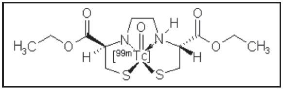 Struktura oxo[<sup>99m</sup>Tc]technecium-ECD. Název IUPAC:  oxo[<sup>99m</sup>Tc]technecium(V)-diethyl-<i>N,N'</i>-ethylendi-l-cysteinát.