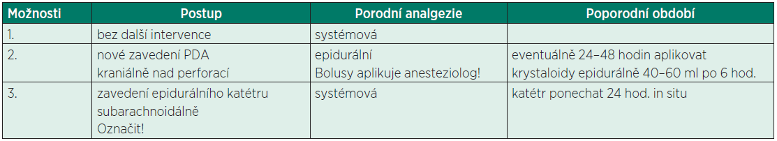 Management arteficiální punkce dury mater při epidurální analgezii (PDA)