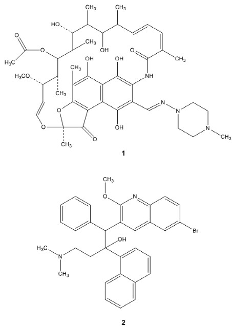 Fig. 1. Structures of rifampicin (1) and bedaquiline (2)