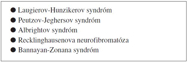 Klinické syndrómy s výskytom melanotických makúl na koži a / alebo slizniciach