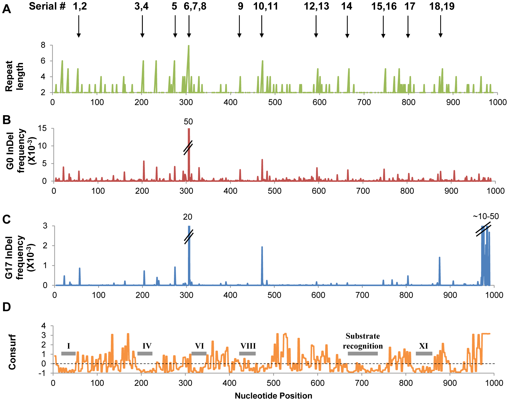 InDels frequencies in the selected (G17) and unselected (G0) repertoires.