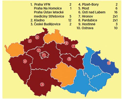 Mapa současné sítě pracovišť HBO v ČR