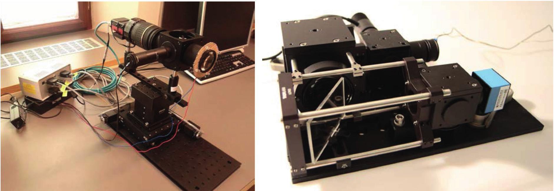Ukázka laboratorního zařízení první verze (vlevo) a druhé verze (vpravo)