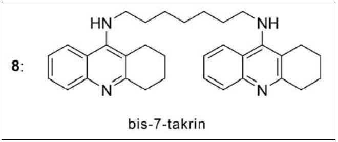 Bis-7-takrin – první duální inhibitor AChE připravený v roce 1996