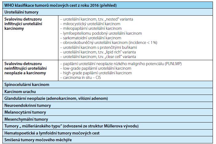 WHO klasifikace tumorů horních a dolních močových cest (zkrácená verze) Fig. 3. WHO classification of tumor of upper and lower urinary tract system (shortened version)