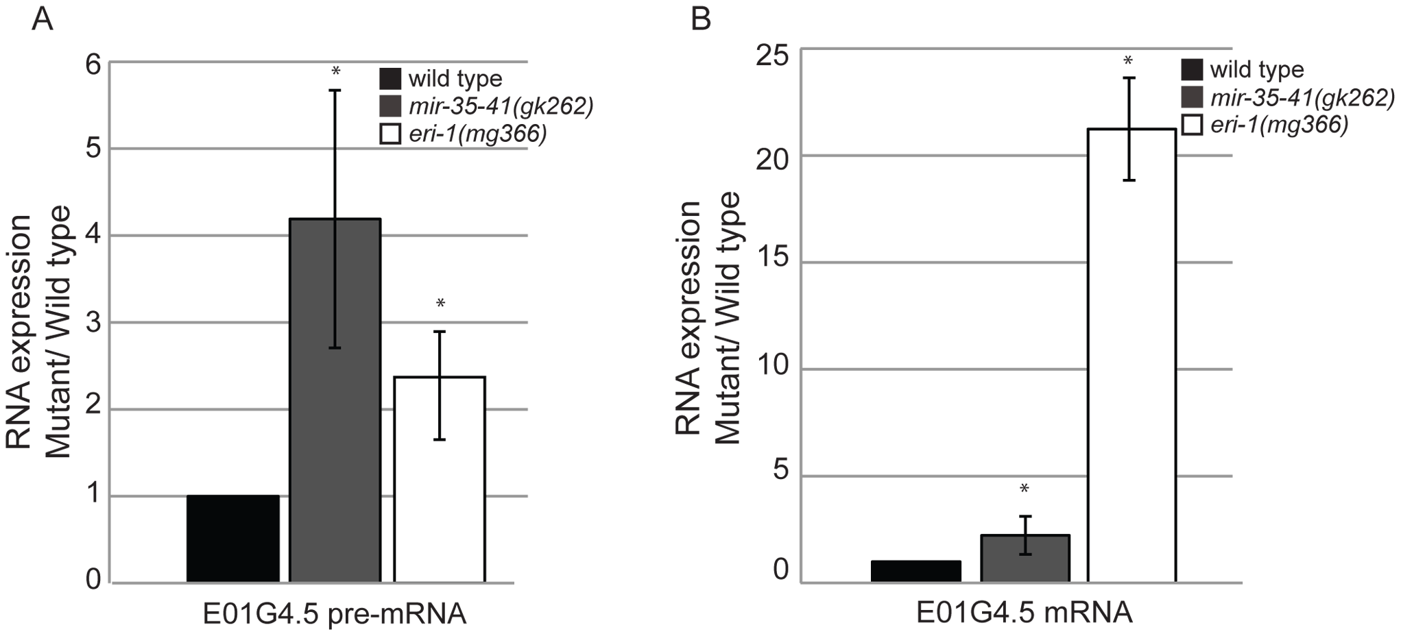 Mis-regulation of the E01G4.5 endo–siRNA target in <i>mir-35-41</i> mutants.