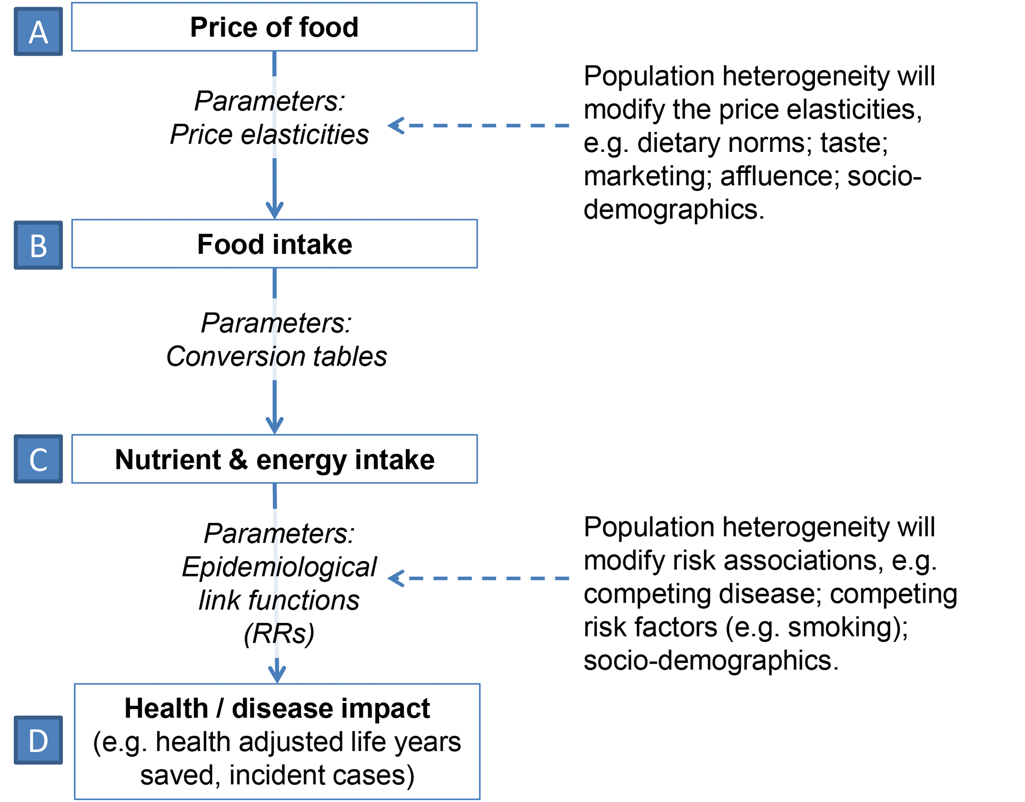 Causal diagram for simulation model illustrating how food price leads to health or disease impact.