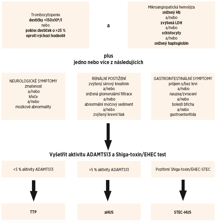 Schéma 1. Diferenciální diagnostika trombotických mikroangiopatií.