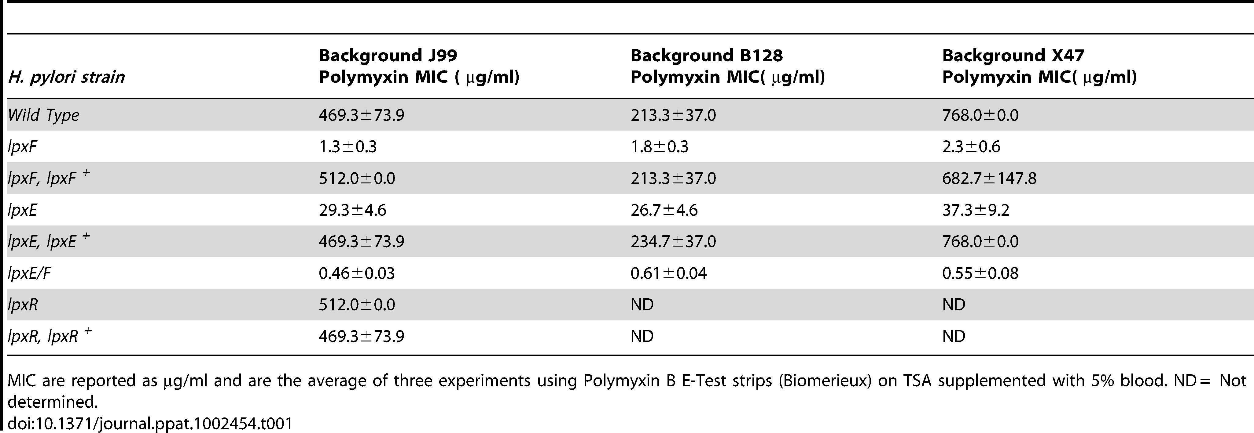 Minimal Inhibitory Concentrations (MIC) of polymyxin against <i>H. pylori</i> strains.