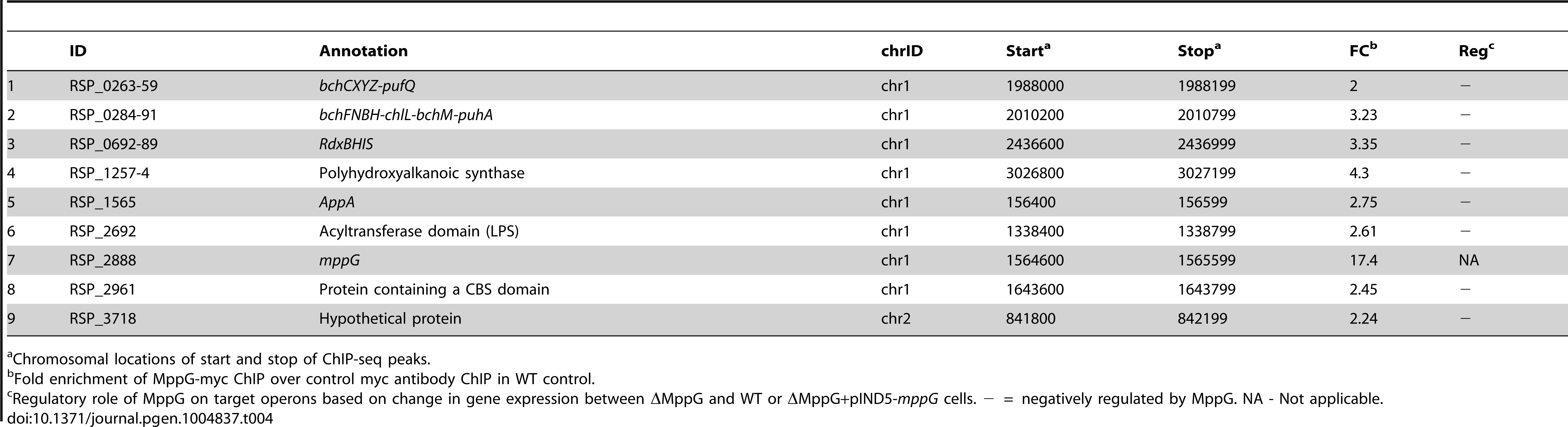 MppG target genes identified by ChIP-seq and gene expression analysis.