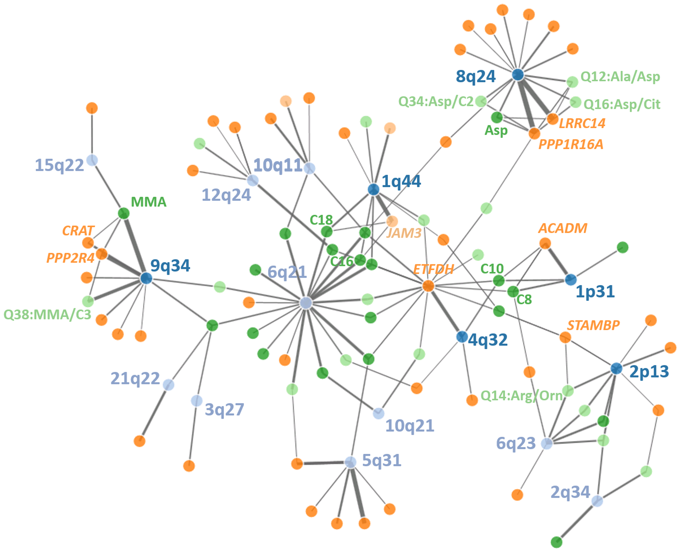 Network of discovered loci, eQTLs and metabolites.