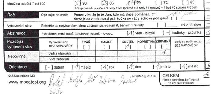 Část MOCA testu (sedmičkový test, paměť, verbální fluence…) pan BP