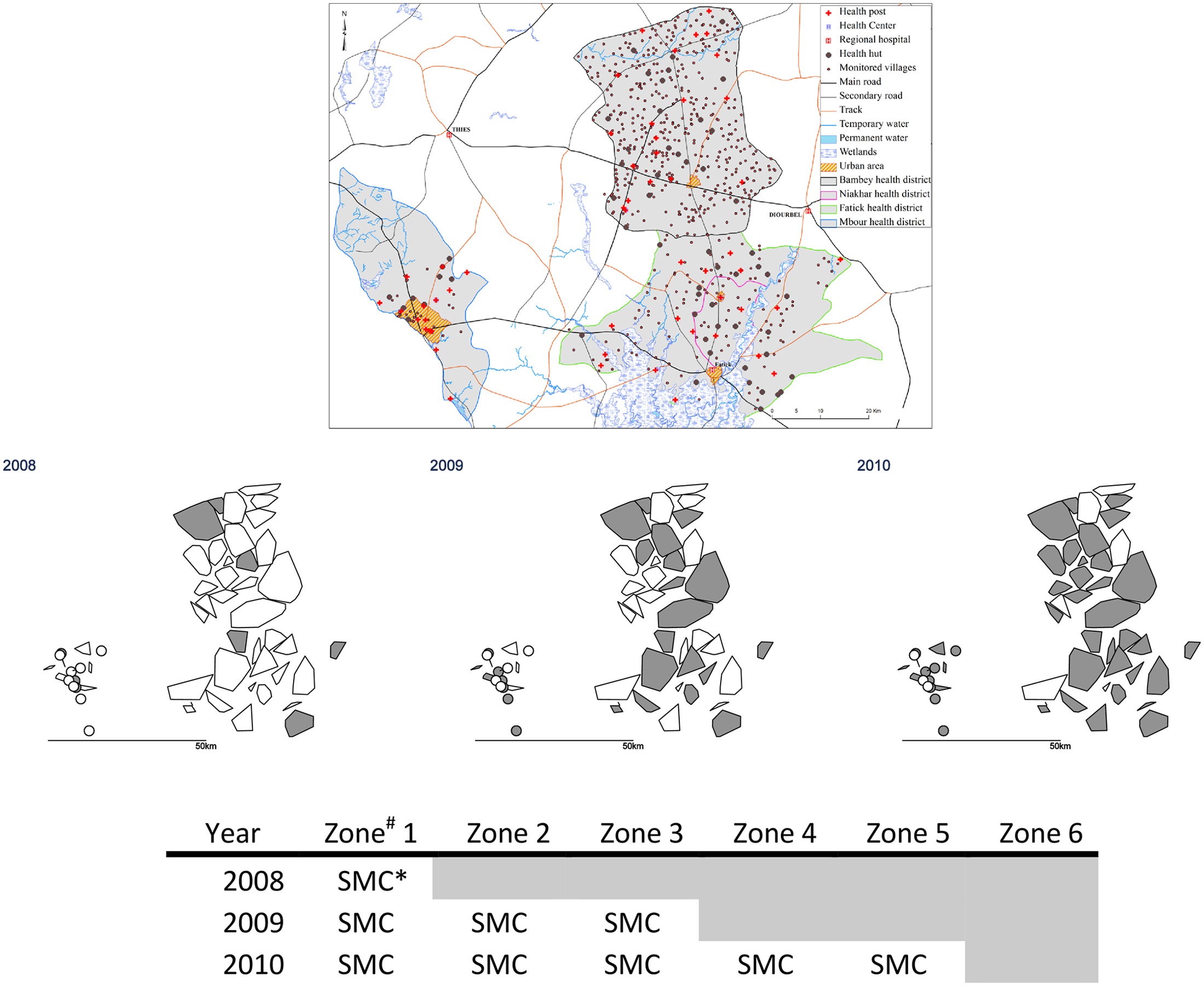 Stepped-wedge introduction of SMC in 45 health post areas over three years.
