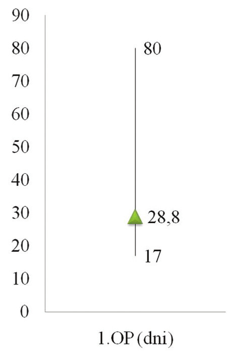 Timing operácie na pankrease (2006–2007) Graph 4. Timing of the pancreatic procedure (2006–2007)