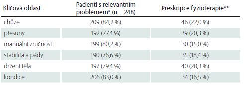 Využití fyzioterapie u pacientů s relevantním problémem v šesti klíčových oblastech.