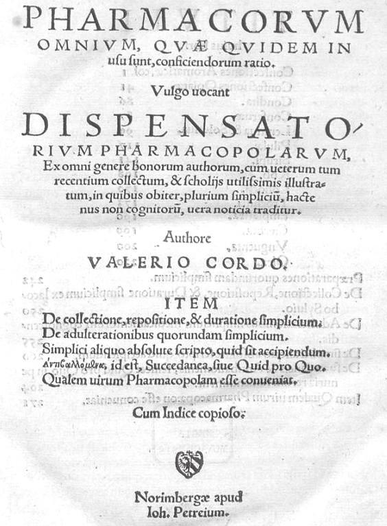 Prvé vydanie Cordovho dispenzatória