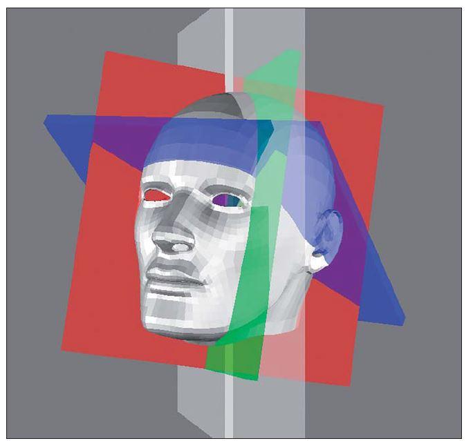 Zobrazení senzorických rovin na virtuálním modelu.