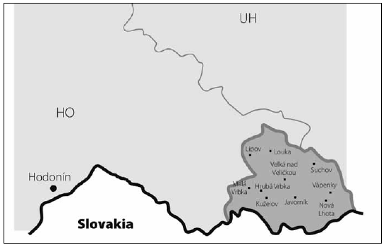 Map of south-eastern Moravia with county border. The dark gray area is the Hornacko region, 10 villages.