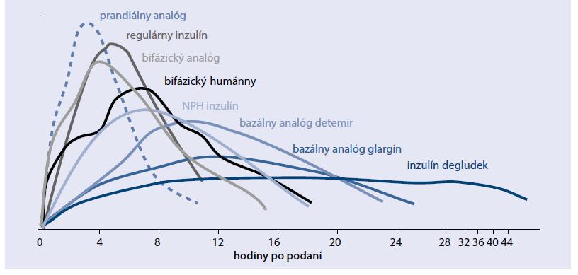 Graf. Schematické znázornenie kinetiky inzulínov