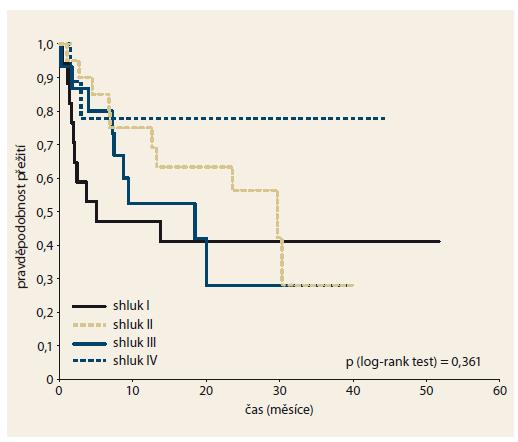 Přežití pacientů podle molekulárních profilů na základě výsledků shlukové analýzy. Graph 3. Patient survival according to molecular profiles based on cluster analysis results.