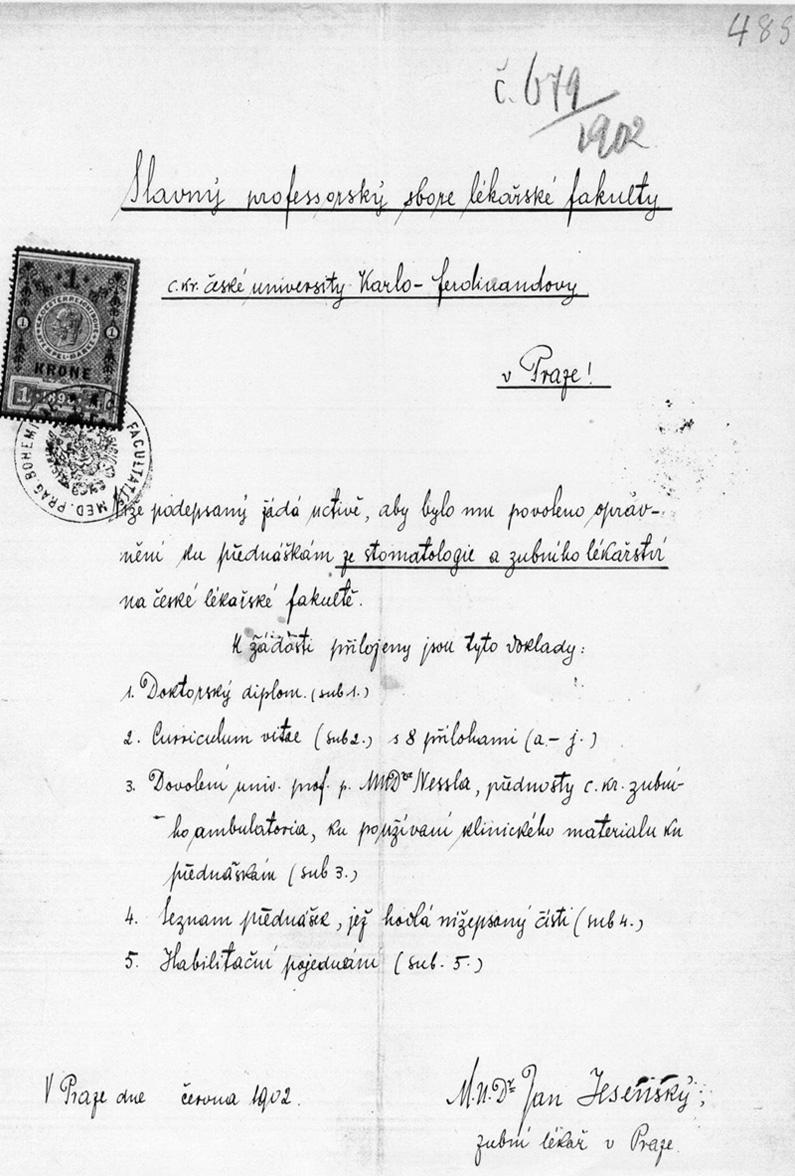 Žádost MUDr. Jana Jesenského o povolení přednášet stomatologii a zubní lékařství na České lékařské fakultě roku 1902.