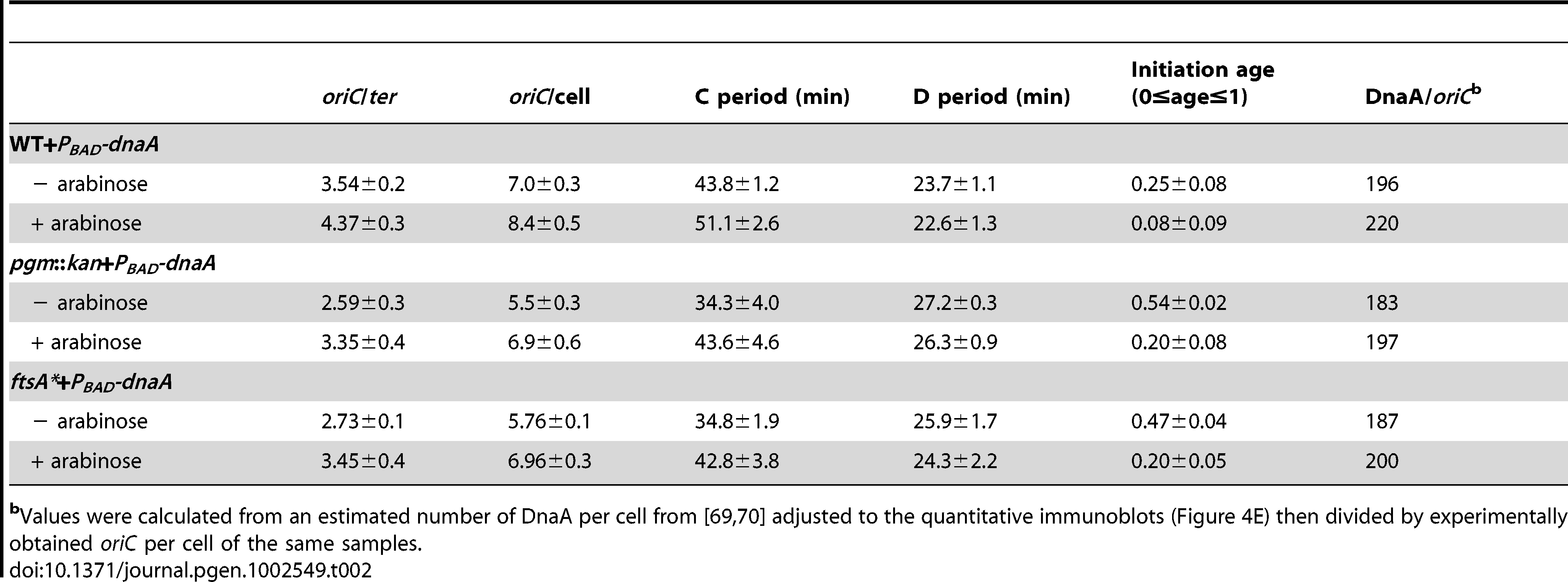 Cell cycle parameters of <i>E. coli</i> strains overexpressing DnaA corresponding to <em class=&quot;ref&quot;>Figure 4E</em>.