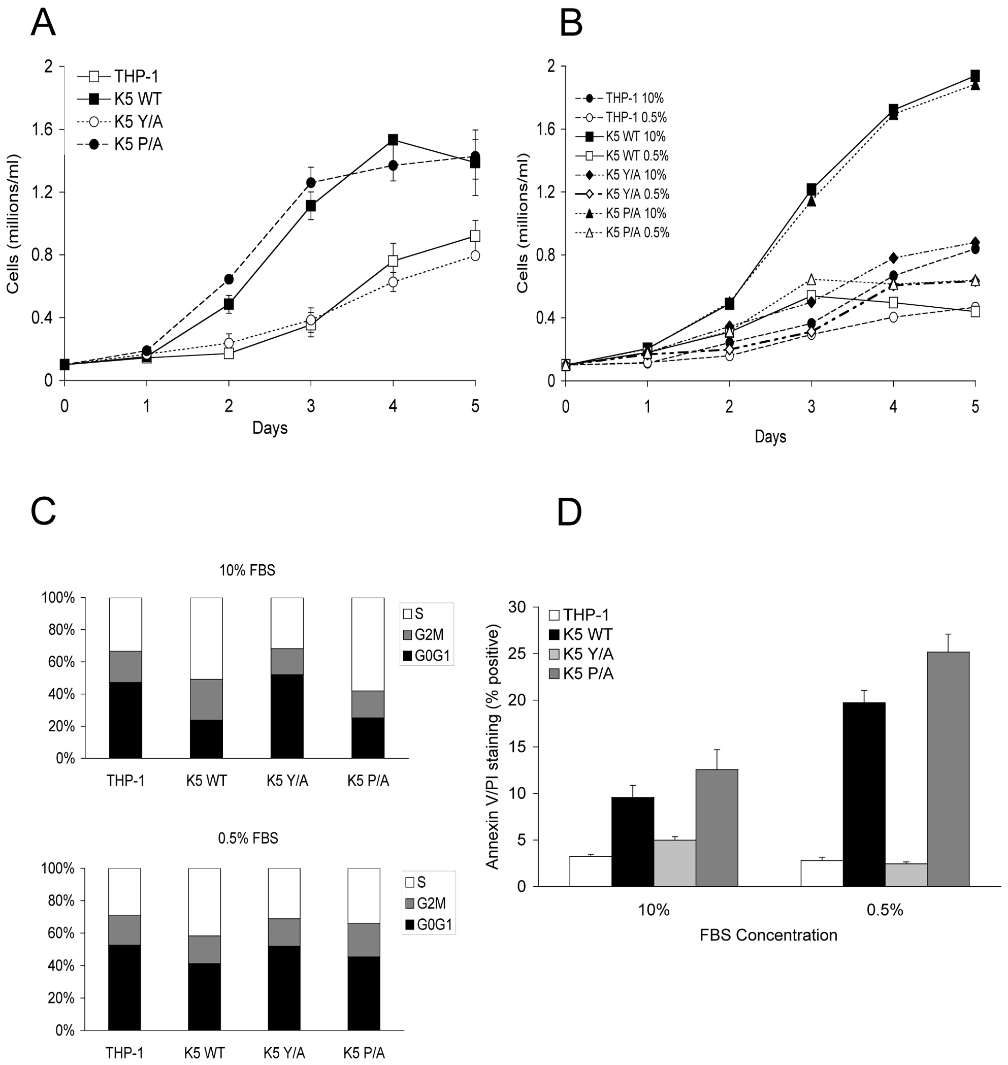 THP-1 cells stably expressing wild-type K5 have increased growth rate, which is serum dependent.