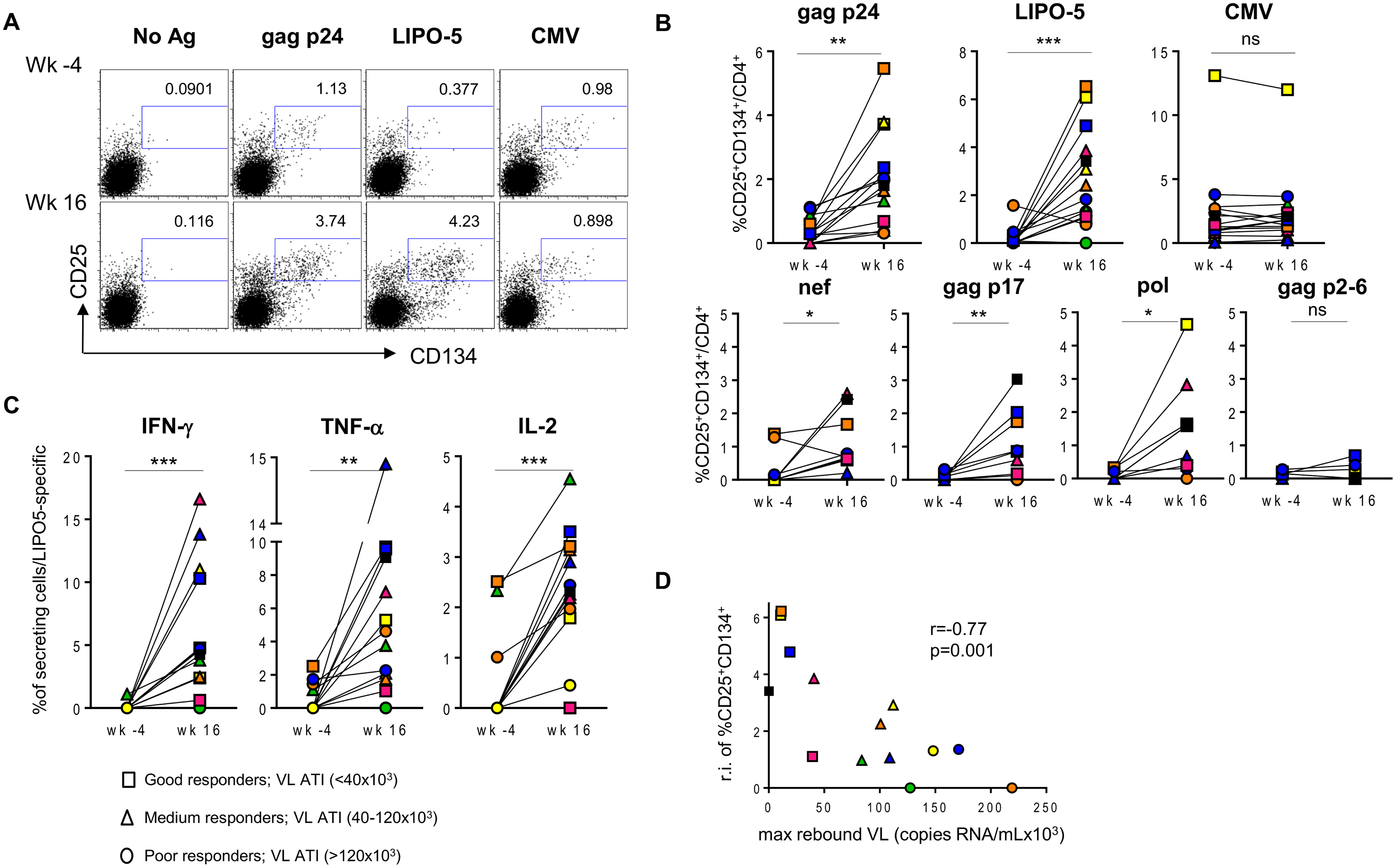 HIV-specific responses are significantly upregulated after the vaccination with LIPO-5-DC vaccine.