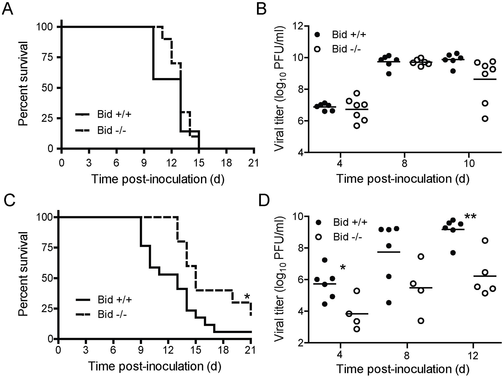 Bid modulates reovirus replication and pathogenesis following IC inoculation.