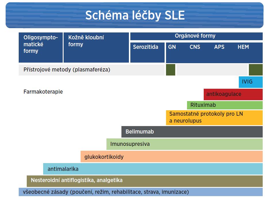 Léčebné postupy využívané v terapii SLE a jejich schematická indikace