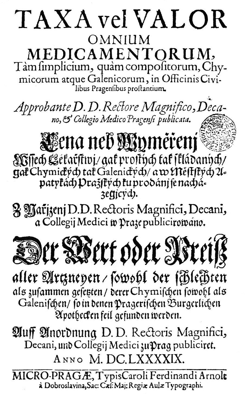 Titulní list pražské sazby z roku 1699