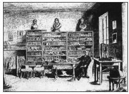 Kresba Purkyňovy pracovny v Praze ve Spálené ulici. Vpravo na stole u okna Purkyňův mikroskop a kinesiskop.
