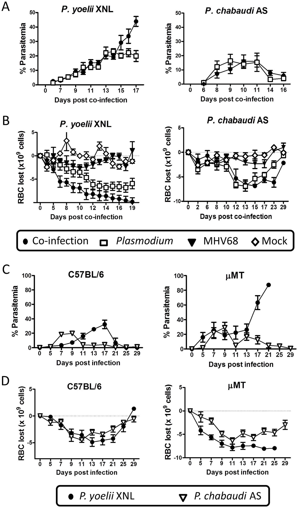 <i>P</i>. <i>yoelii</i> XNL requires <i>Plasmodium</i> specific IgG response to clear primary peak of parasitemia.