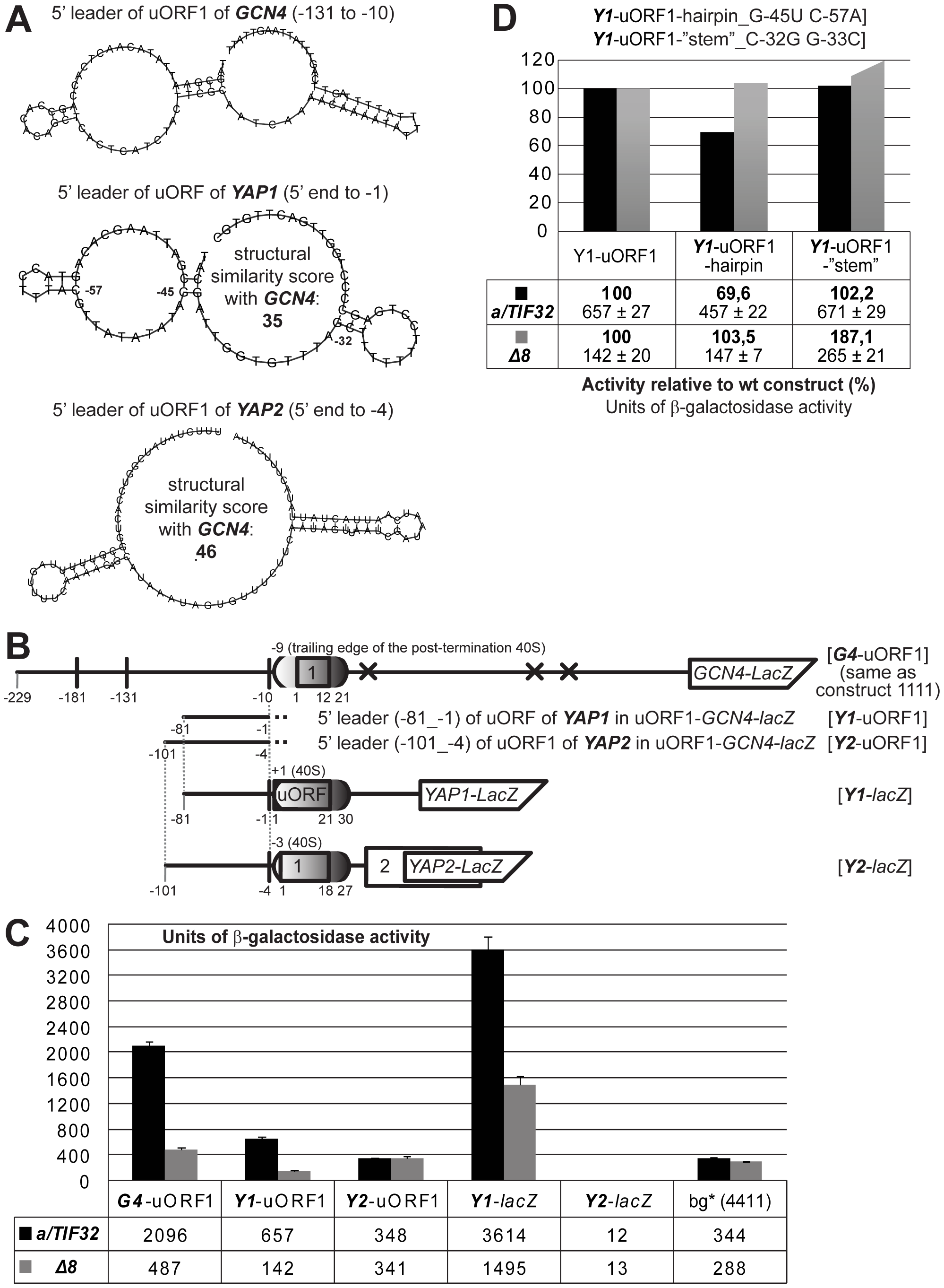 The 5′ sequences of the REI-permissive uORF of <i>YAP1</i> contain structurally similar features to the RPEs of <i>GCN4</i>'s uORF1 and promote REI in co-operation with the a/TIF32-NTD.